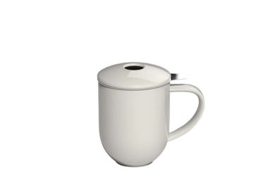 300ml Pro Tea mug with stainless infuser and lid in cream made by Loveramics