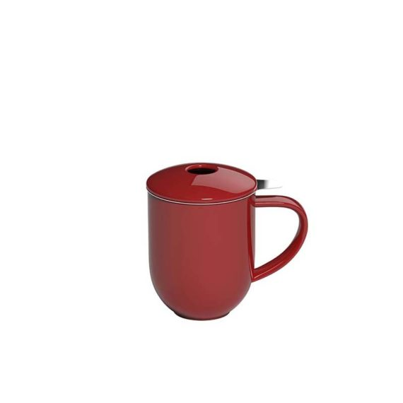 300ml Pro Tea mug with stainless infuser and lid in red made by Loveramics