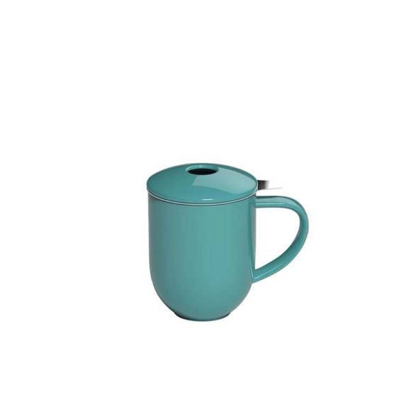 300ml Pro Tea mug with stainless infuser and lid in teal made by Loveramics