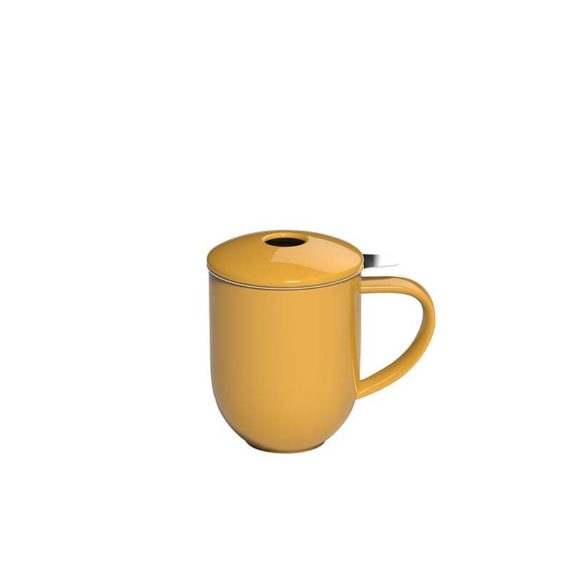 300ml Pro Tea mug with stainless infuser and lid in yellow made by Loveramics
